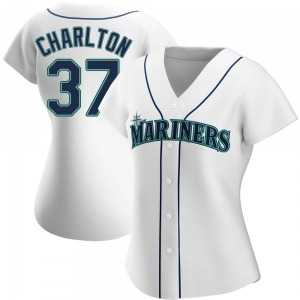 Women's Seattle Mariners Norm Charlton White Home Jersey - Replica