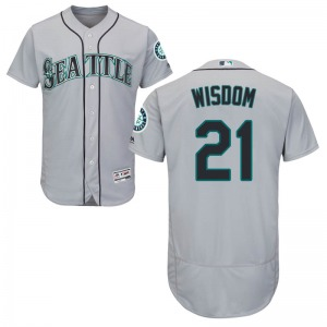 Youth Majestic Seattle Mariners Patrick Wisdom Gray Flex Base Road Collection Jersey - Authentic