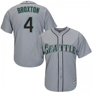 Youth Majestic Seattle Mariners Keon Broxton Gray Cool Base Road Jersey - Replica