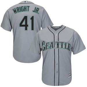 Men's Majestic Seattle Mariners Mike Wright Jr. Gray Cool Base Road Jersey - Authentic