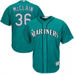 Men's Majestic Seattle Mariners Reggie McClain Green Cool Base Alternate Jersey - Replica